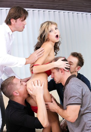 Petite skinny bitch Gina gets fucked really hard in a gangbang