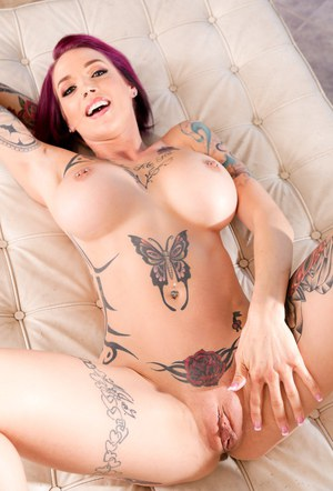 Busty tattoed redhead Anna Bell Peaks sucks Mick Blue  rides his big cock
