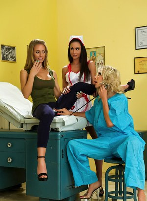 Busty nurse enjoys steamy lesbian office threesome with doctor and patient