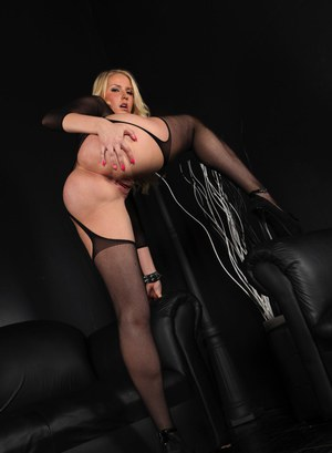 Hot blonde Vanessa Cage in sheer lingerie showing off her perfect shaved pussy