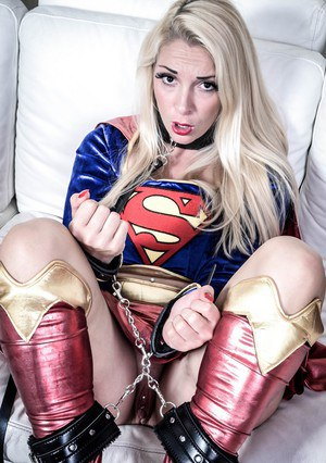 Platinum blonde chick Victoria Summers gets banged in a Superman outfit