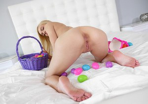 Thin blonde girl Alex Grey gets slammed by a large penis on Easter vacation
