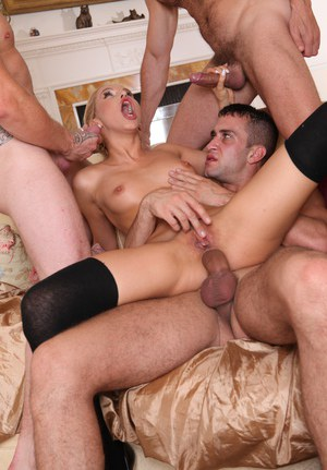Sexy blonde Aleska Diamond gets DP and hardcore anal fuck in hot group sex
