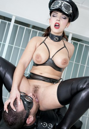 Sexy leather & latex clad Liza Del Sierra gagged & facialized by her captives