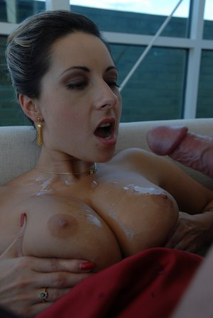 Elegant Daria Glower ends steamy fuck with dripping cum on her big tits