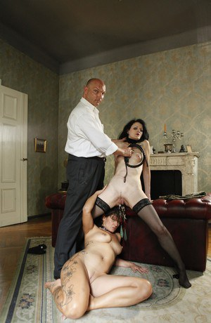 German pain sluts Michelle and Anna are instructed in lesbian acts by a man