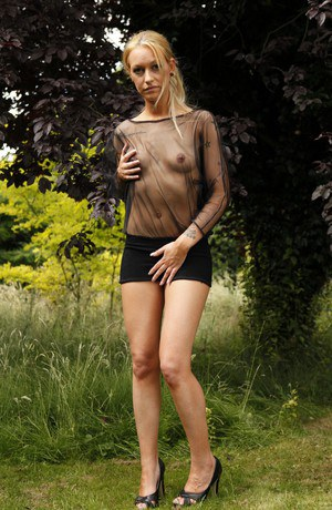 Euro chick Bella Blow takes a pee in woods before forced fucking by two men