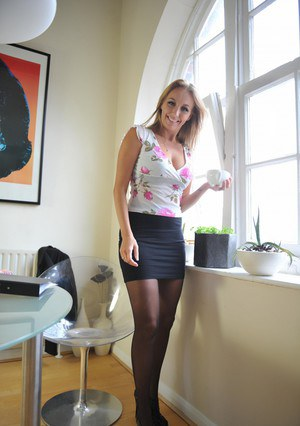Hot boss lady Hayley Marie Coppin strips to her nylons at end of workday