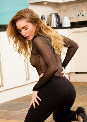 Natural redhead Rachelle Summers removes see thru onesie in skin tight pants