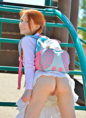 Petite ginger schoolgirl pleasures her tight muff with a sex toy