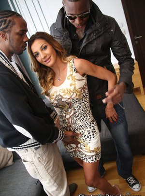 Petite chick lives out her interracial gangbang desires with willing black men