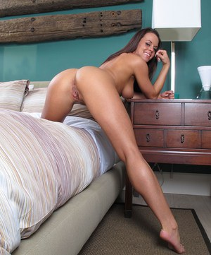 Hot Latina brunette Rahyndee James in thong panties fingering tight ass