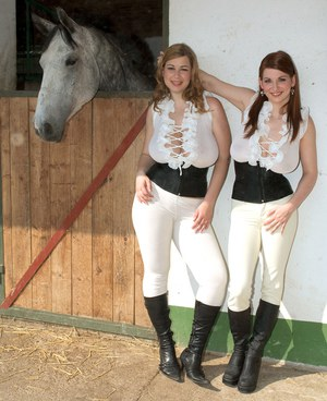 Big titted dykes Christy Marks  Terry Nova wear riding attire at horse farm
