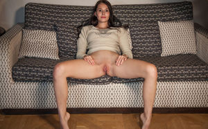 Leggy brunette girl Vanessa Angel dripping cunt juice from spread pussy