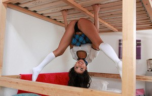 Young Latina girl Veronica Rodriguez gets boned in knee high white socks