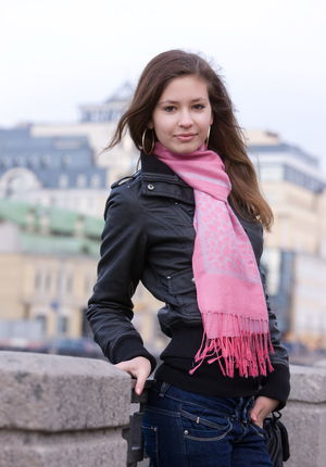 Sweet teen girl shows off her tight pussy after a walk thru the old city