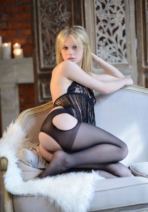 Enticing young Angelika D posing in sheer lingerie for her VIP lover