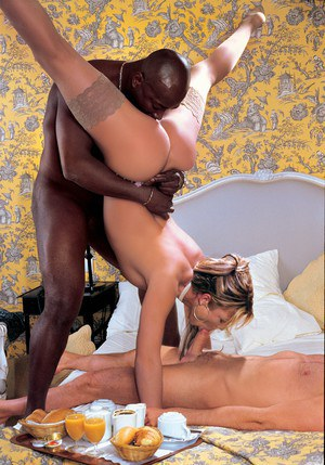 Dirty blonde MILF Shelby Bell does an interracial DP in flesh toned nylons