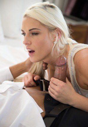 Platinum blonde Blanche Bradburry takes a big black dick up filthy bunghole