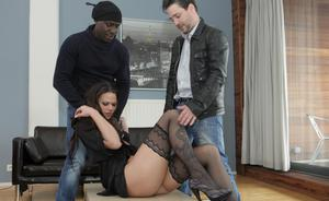 Anal sex pornstar gets double penetration by big cocks in interracial 3some