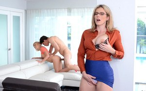 Masturbating blonde MILF in glasses joins in for threesome sex with big dick
