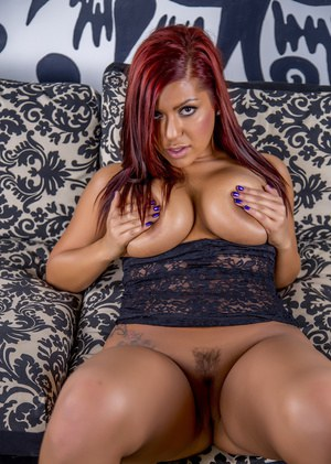 Redhead Latina pornstar Briana Lee filling asshole and pussy with sex toys