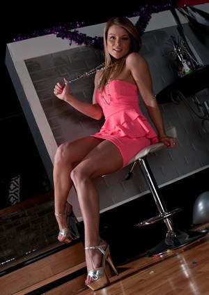 Amateur model Madden in dress stripping to pose naked wearing high heels