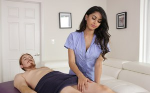 Latina masseuse Sophia Leone binds man with duct tape and jerks off his cock