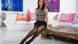 Hot redhead Nina Sunrise in pantyhose dildos her tight pussy close up