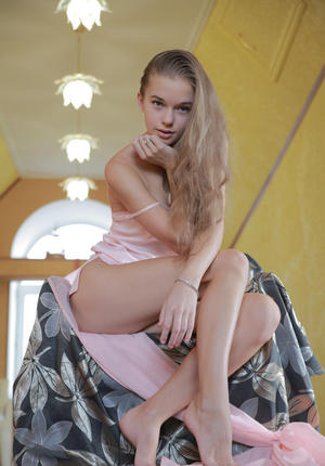 Perfect teen looker with long legs Milena stretches her tight twat