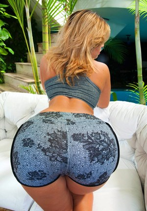 Hot blonde Latina in shorts shows round ass while fucking hard