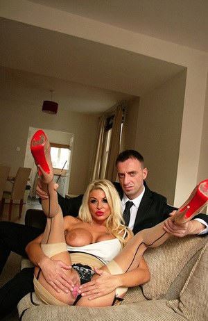 Slutty blonde spreads her long legs to masturbate for her boss to get a raise