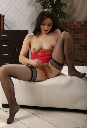 Remarkable, amusing Ally style in fishnet stockings