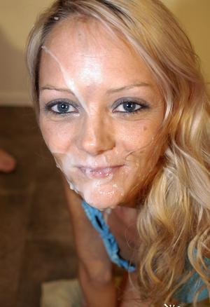 Young blonde girl Layla gets cum on her face during a blowbang