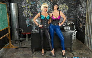 Hot blonde Jessica Jaymes and her Goth gf deliver a double blowjob POV style