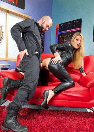 Sexy Abby Cross in latex and heels sucking big cock & fucking doggystyle