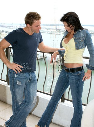 Dark haired chick Karina O Reilley is stripped and banged on oceanside balcony