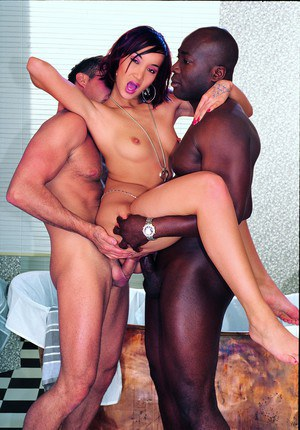 Japanese beauty Katsuni gets double fucked by white and black dicks