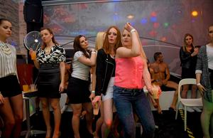 Party girls drink too much booze and proceed to blow the male strippers