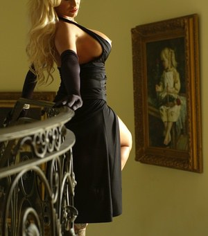 Spectacular busty pornstar Shyla Stylez toys her hot pussy on the stairs