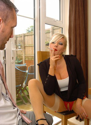 Hot blonde Michelle Thorne swaps oral sex while having a smoke