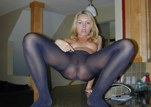 Blonde chick Trisha Uptown issues jerk off instructions in opaque pantyhose