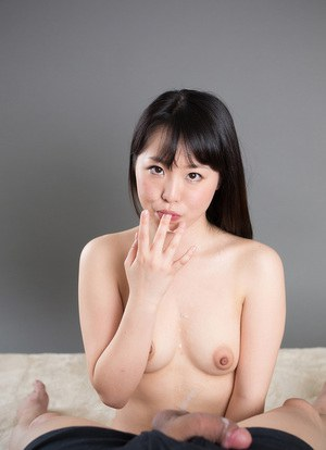 Naked Japanese girl sucks her way to a mouthful of sperm to play with