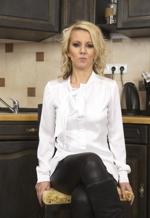 Hot blonde wife unzips in kitchen and plays with her moist twat and dildo