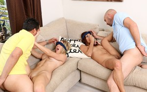 Hot girls Jade Jantzen and Molly Mae blindfolded for doggystyle bang & facial