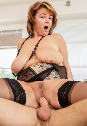Fatty cougar Yahra in stockings gets cum on saggy tits in mature seduction