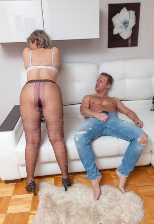 Horny mother Marianna in pantyhose getting licked  fucked by young lover