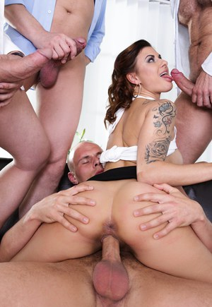 Tattooed Billie Star gets double penetration by big cocks in wild gangbang