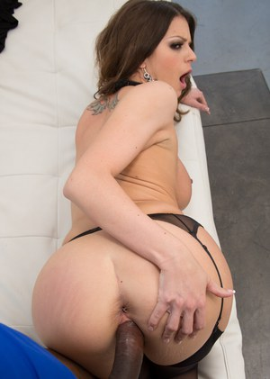 Busty pornstar Brooklyn Chase rides a big black dick in hose and garters