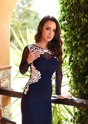 Tattooed Lauren Louise in tight dress stripping outdoors to show nice tits